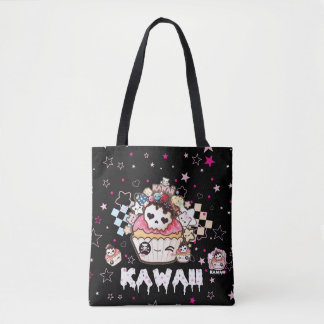 Kawaii skull cupcakes tote bag