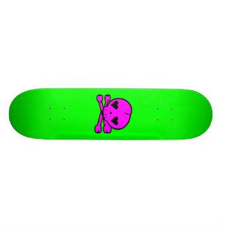 Kawaii Skull Gothic Lolita Green & Pink Skateboard Deck