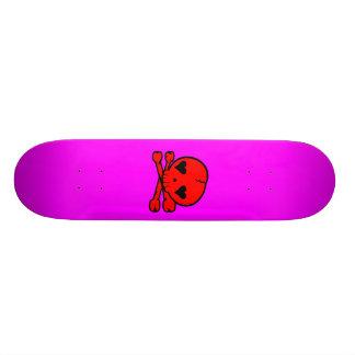 Kawaii Skull Gothic Lolita Pink & Red Skateboard