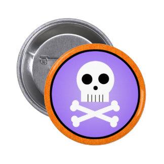 Kawaii Skull Halloween Pinback Button