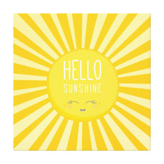 KAWAII SKY bright bold yellow smiling sun sunshine Canvas Print