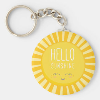 KAWAII SKY bright bold yellow smiling sun sunshine Keychain