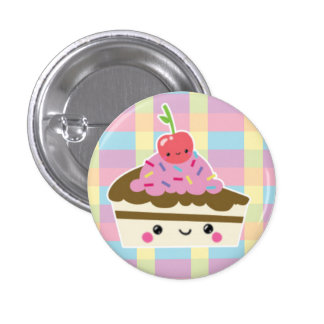 Kawaii Slice of Cake on Colorful Checks Pinback Button