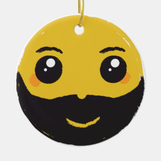 Kawaii Smiley Smiling with Beard & Mustache Ceramic Ornament