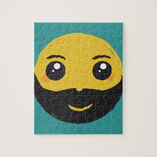 Kawaii Smiley Smiling with Beard & Mustache Jigsaw Puzzle