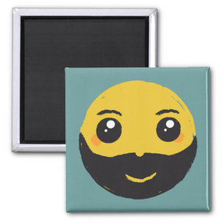 Kawaii Smiley Smiling with Beard & Mustache Magnet