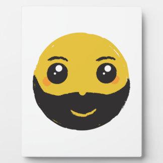 Kawaii Smiley Smiling with Beard & Mustache Plaque
