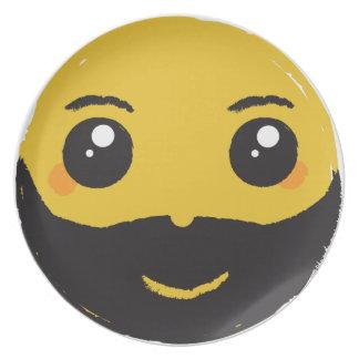 Kawaii Smiley Smiling with Beard & Mustache Plate