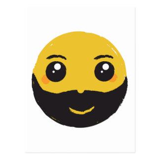Kawaii Smiley Smiling with Beard & Mustache Postcard