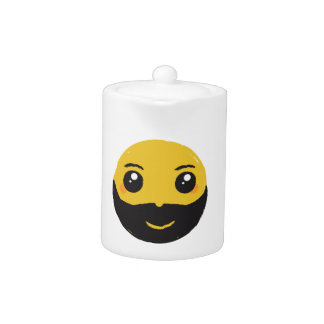 Kawaii Smiley Smiling with Beard & Mustache Teapot
