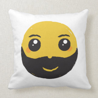 Kawaii Smiley Smiling with Beard & Mustache Throw Pillow