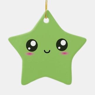 Kawaii smiley star - green ceramic ornament