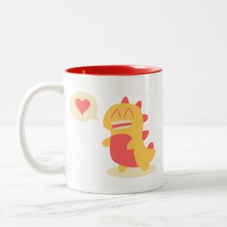 Kawaii smiling Dino talking about love & coffee Two-Tone Coffee Mug