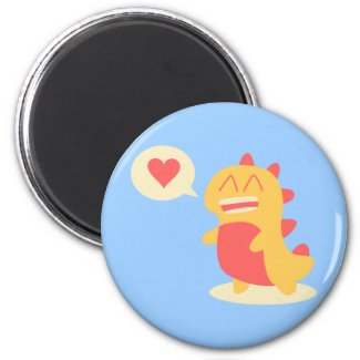 Kawaii smiling Dino talking about love Refrigerator Magnets