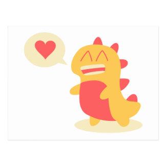Kawaii smiling Dino talking about love Postcard