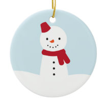 Kawaii Snowman Ceramic Ornament