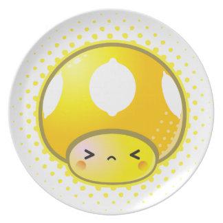Kawaii Sour Lemon Mushroom Dinner Plate