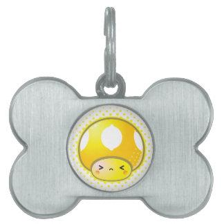 Kawaii Sour Lemon Mushroom Pet ID Tags
