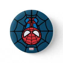 Kawaii Spider-Man Hanging Upside Down Button