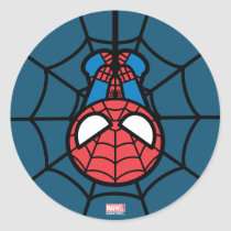 Kawaii Spider-Man Hanging Upside Down Classic Round Sticker