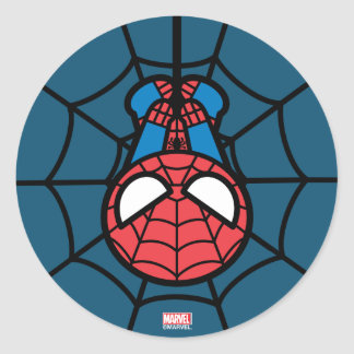Kawaii Spider-Man Hanging Upside Down Classic Round Sticker