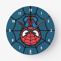 Kawaii Spider-Man Hanging Upside Down Round Clock