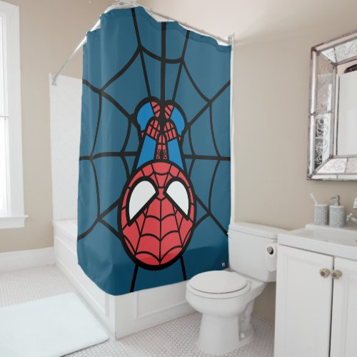 Kawaii Spider-Man Hanging Upside Down Shower Curtain