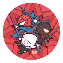 Kawaii Spider-Man, Spider-Gwen, & Miles Morales Classic Round Sticker