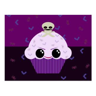 Kawaii Spooky Cupcake Skull Spiders Bats Post Cards