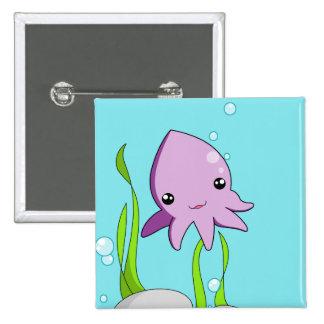 Kawaii Squid 2 Inch Square Button