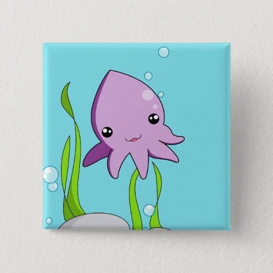 Kawaii Squid Pinback Button