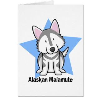 Kawaii Star Alaskan Malamute Card