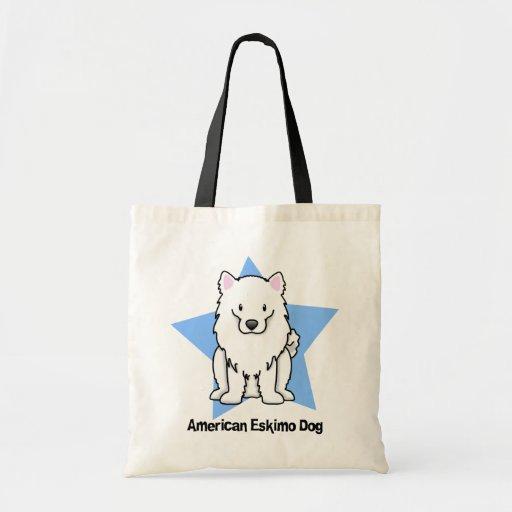 Kawaii Star American Eskimo Dog Canvas Bags