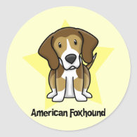 Kawaii Star American Foxhound Sticker