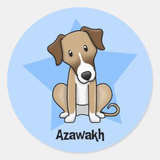 Kawaii Star Azawakh Round Sticker