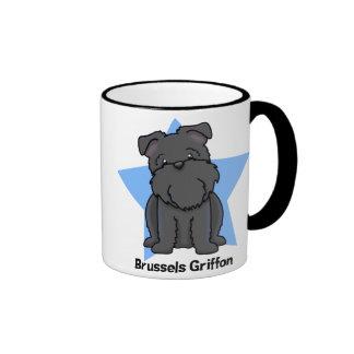 Kawaii Star Black Brussels Griffon Ringer Mug