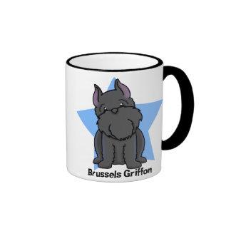 Kawaii Star Black Cropped Brussels Griffon Ringer Mug