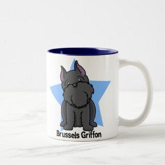 Kawaii Star Black Cropped Brussels Griffon Two-Tone Coffee Mug
