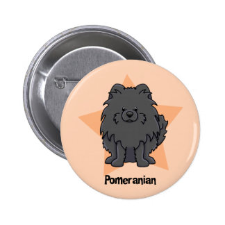 Kawaii Star Black Pomeranian Buttons