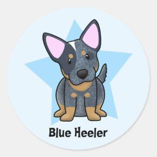 Kawaii Star Blue Heeler Classic Round Sticker