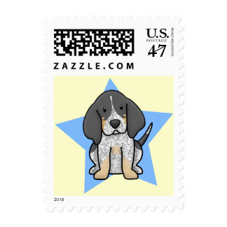 Kawaii Star Bluetick Coonhound Postage Stamps