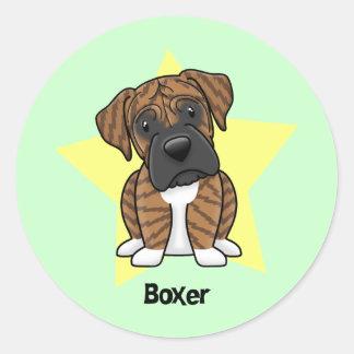 Kawaii Star Brindle Boxer Classic Round Sticker
