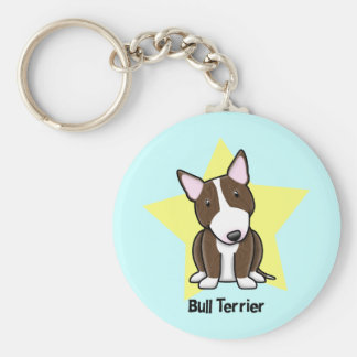 Kawaii Star Brindle Bull Terrier Basic Round Button Keychain