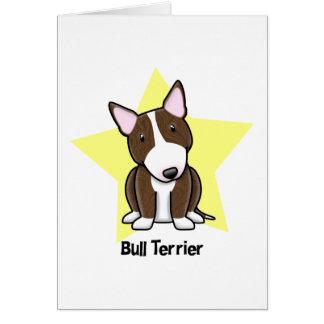 Kawaii Star Brindle Bull Terrier Greeting Card