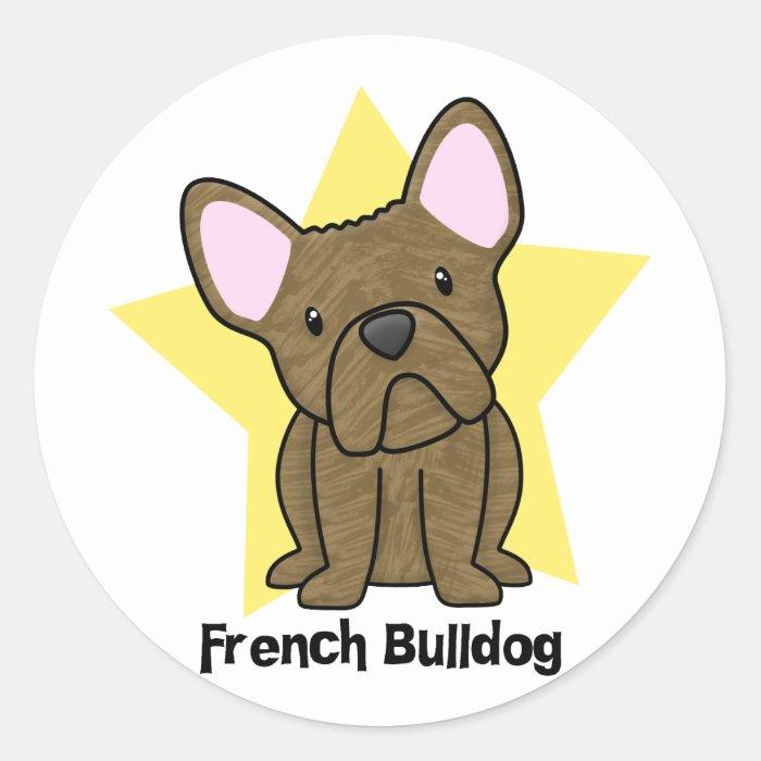 Kawaii Star Brindle French Bulldog Classic Round Sticker