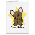 Kawaii Star Brindle French Bulldog Greeting Card