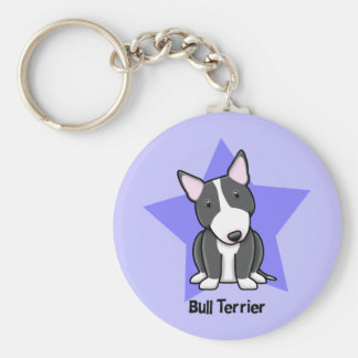 Kawaii Star BW Bull Terrier Basic Round Button Keychain