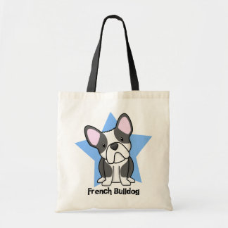 Kawaii Star BW French Bulldog Canvas Bag
