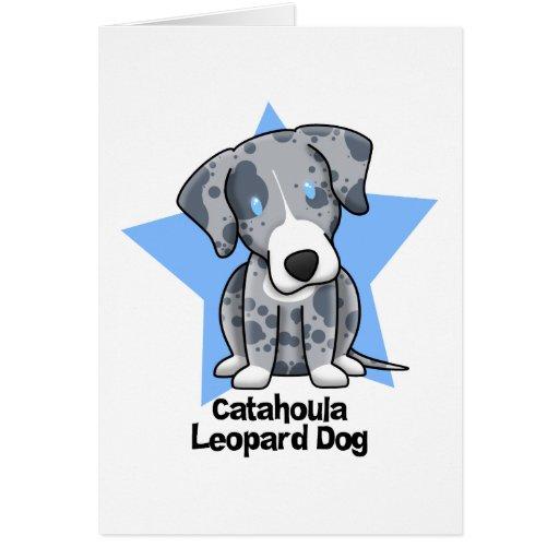 Kawaii Star Catahoula Leopard Dog Card