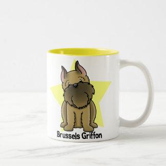 Kawaii Star Cropped Brussels Griffon Two-Tone Coffee Mug